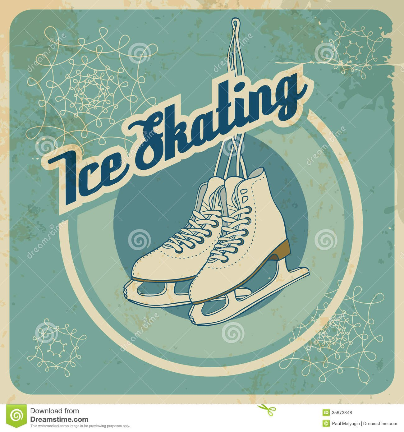 Ice Skating Retro Card Stock Vector  Illustration Of Recreation