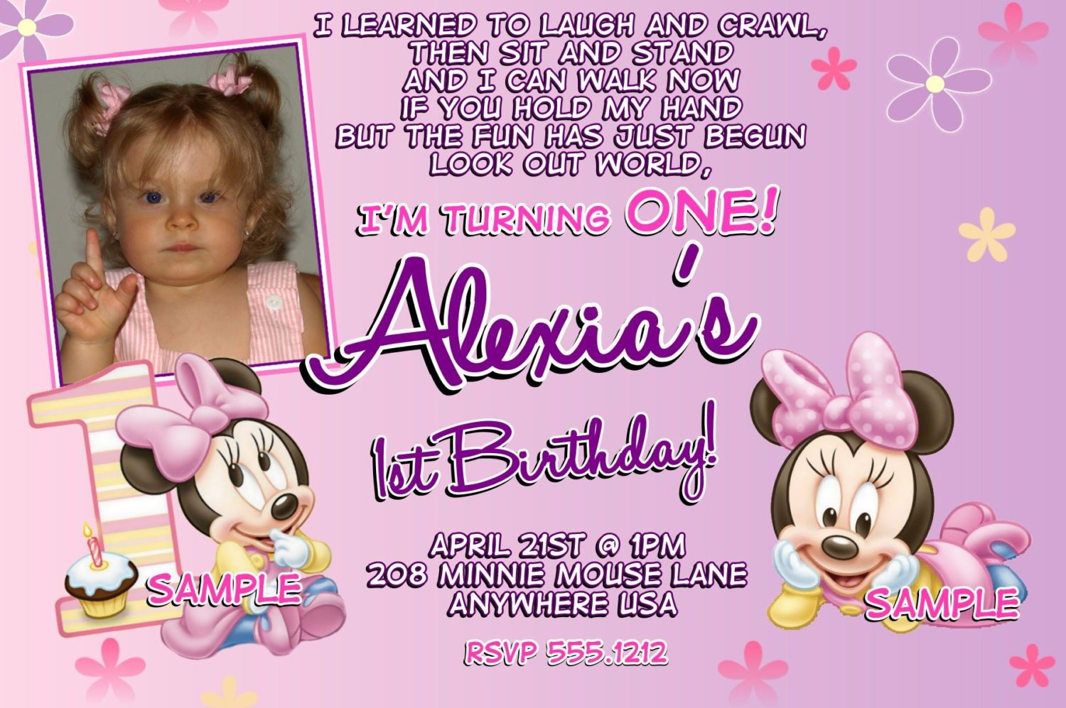 Ideas Invitation Minnie Mouse 1st Birthday 41 About Card Design