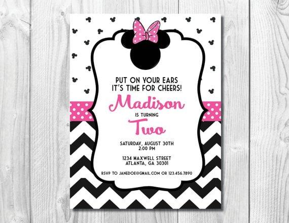 Pink Minnie Mouse Birthday Party Invitation Chevron