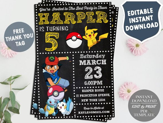 Pokemon Invitation Instant Download Pokemon Birthday