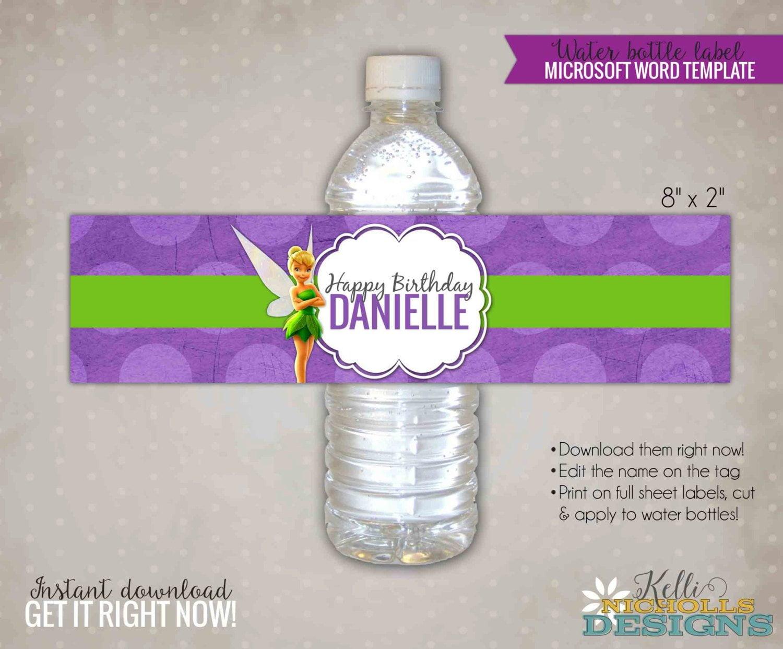 Tinkerbell Water Bottle Label Template Tinkerbell Girl's