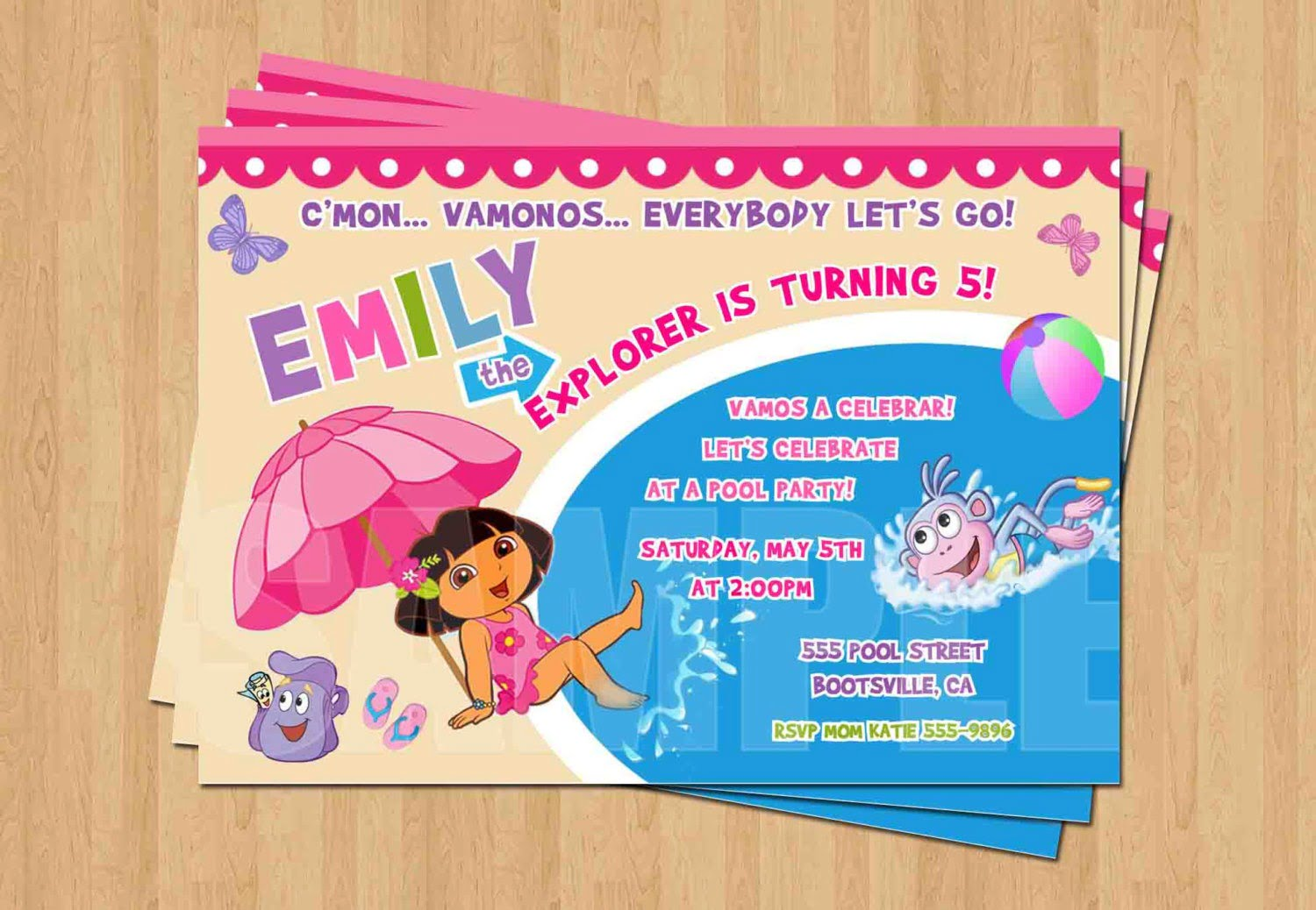 Dora The Explorer Swimming Pool Birthday Party Personalized
