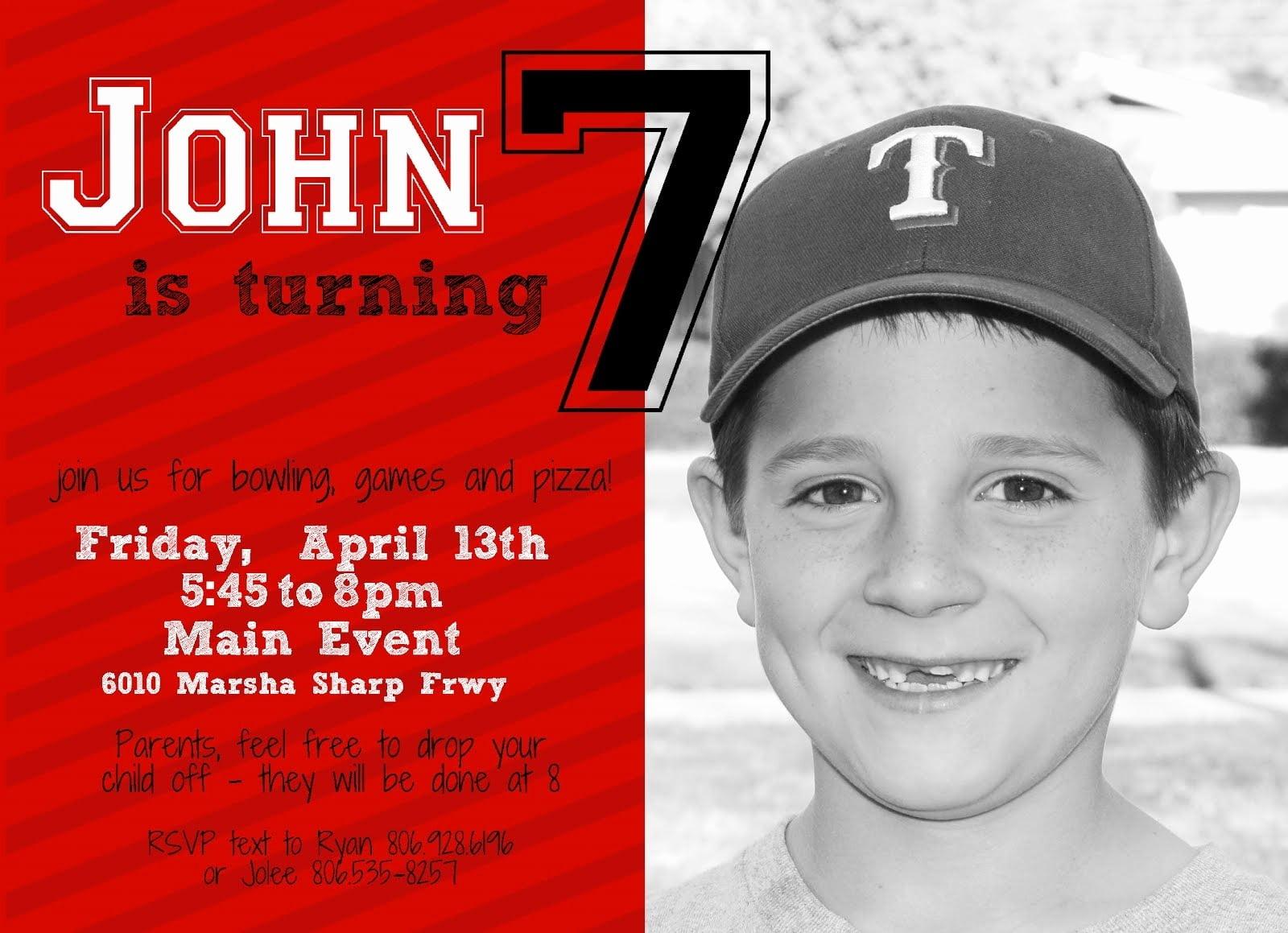 7th Birthday Invitations