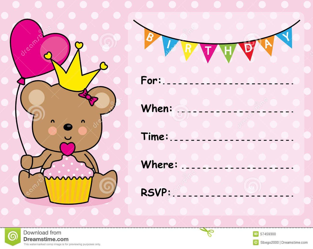 Invitation Card Birthday Girl Stock Vector