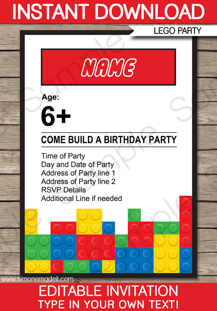 Marvelo Trend Lego Birthday Invites Stunning Lego Birthday