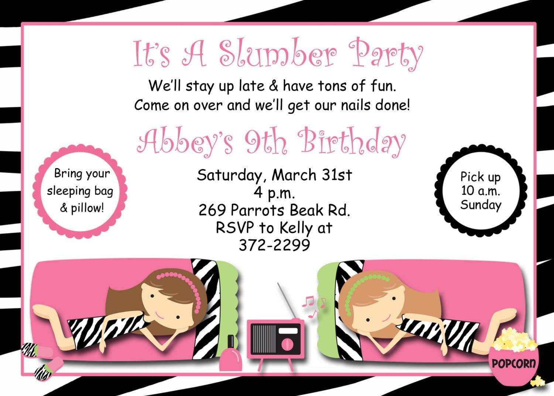 Slumber Party Birthday Invitation Pajama By Thebutterflypress
