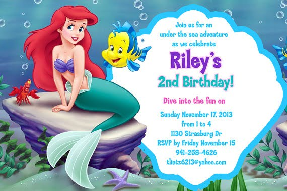 Little Me Awesome Little Mermaid Birthday Invitation Template