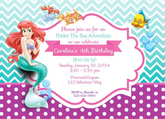 Little Merm Popular Little Mermaid Birthday Invitation Template