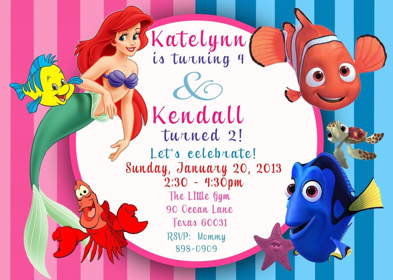 Little Mermaid Birthday Party Invitations Great Little Mermaid