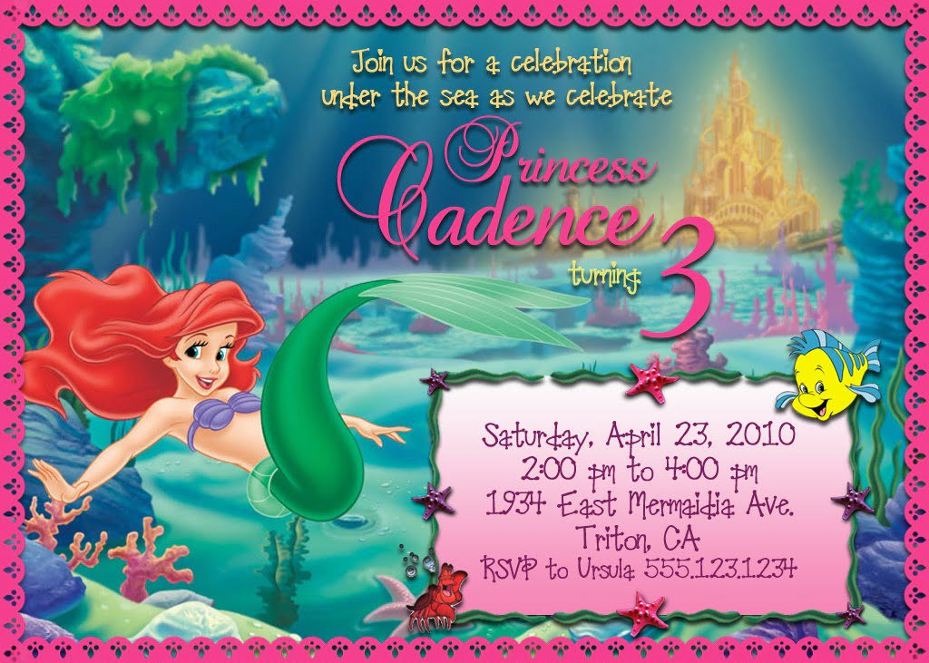 Little Mermaid Party Invitation Wording Th Birthday Ideas Free