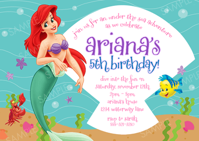 Little Mermaid Party Invitations Templates Inspirational With