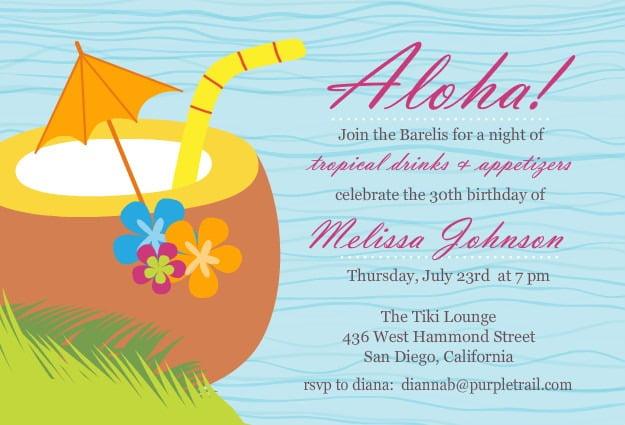 Invita Great Luau Birthday Party Invitation Wording