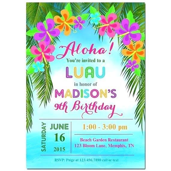 Hawaiian Invitations Templates Free Marvelous With Hawaiian