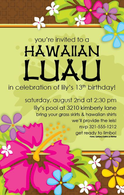 Luau Invitations Templates Free Printable Invitation Tropical