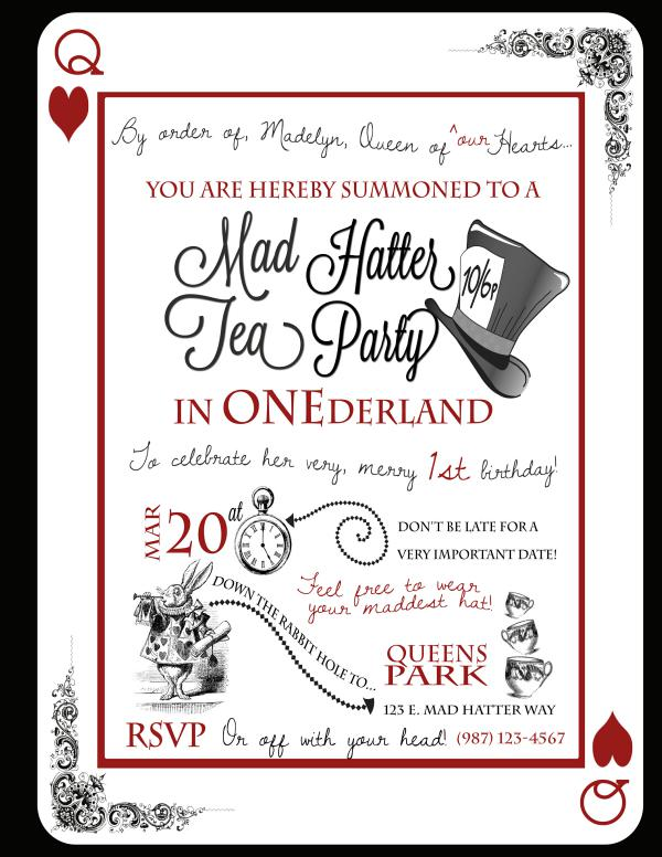 Mad Hatter Tea Stunning Mad Hatter Tea Party Birthday Invitations