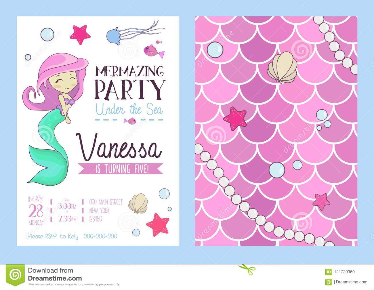 Mermaid Party Invitation With Cute Mermaid, Starfish, Seashell A