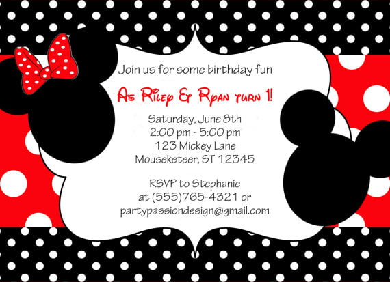 Mickey And Minnie Birthday Invitations In Support Of Invitations