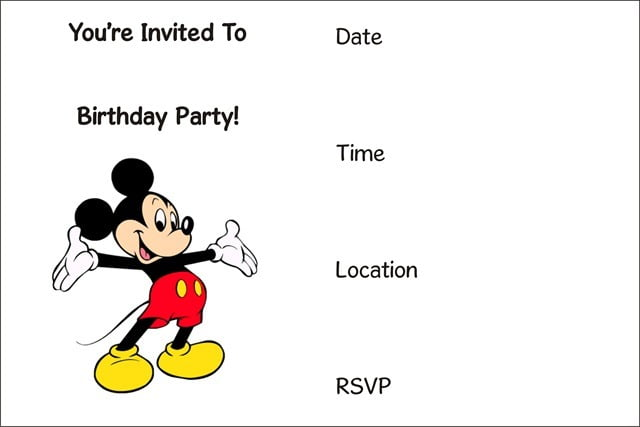 Invitation  Mickey Mouse Birthday Invitation Template