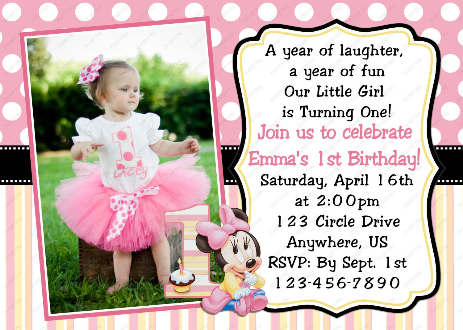 Minnie Mouse St Birthday Invitations Template Cixksqh Superb 1st