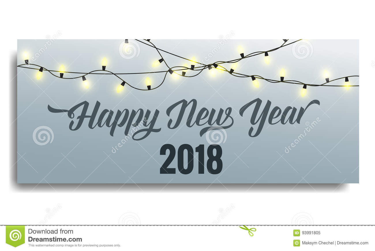 New Year 2018 Invitation  Card Template With Glowing Garlands And