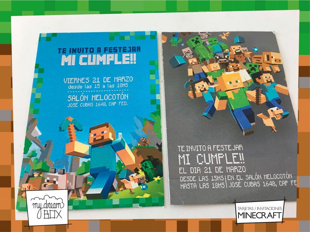 Tarjetas Invitacion Personalisaca Minecraft Cumple Infantil Evento