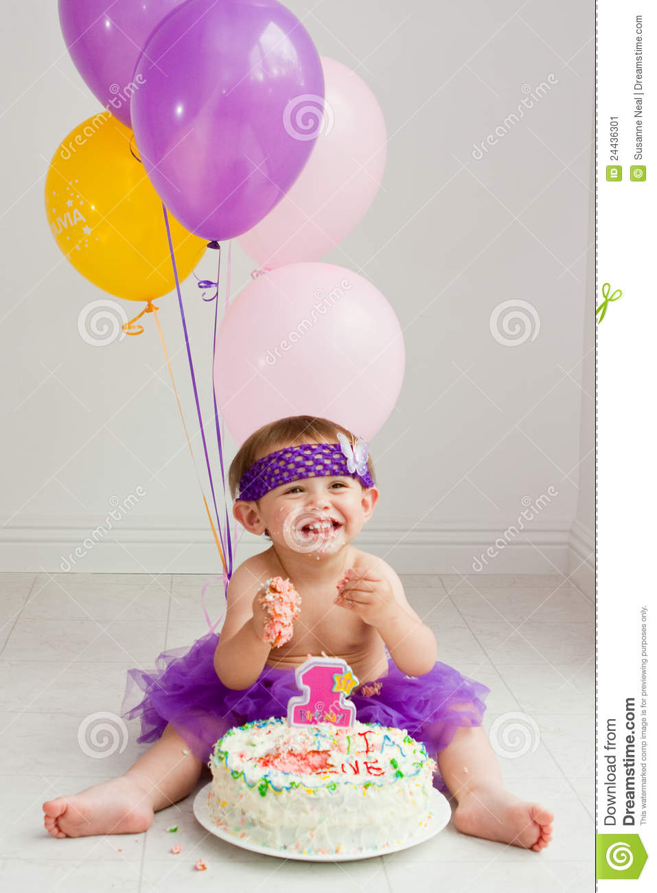 One Year Old Birthday Girl With Cake Stock Photo 24436301