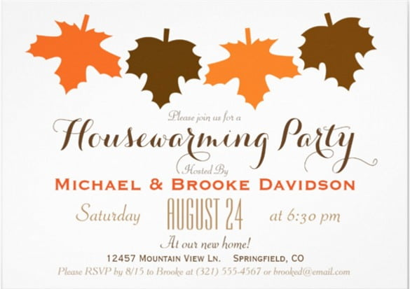 Orange Brown Fall Leaves Housewarming Party X Paper Invitation