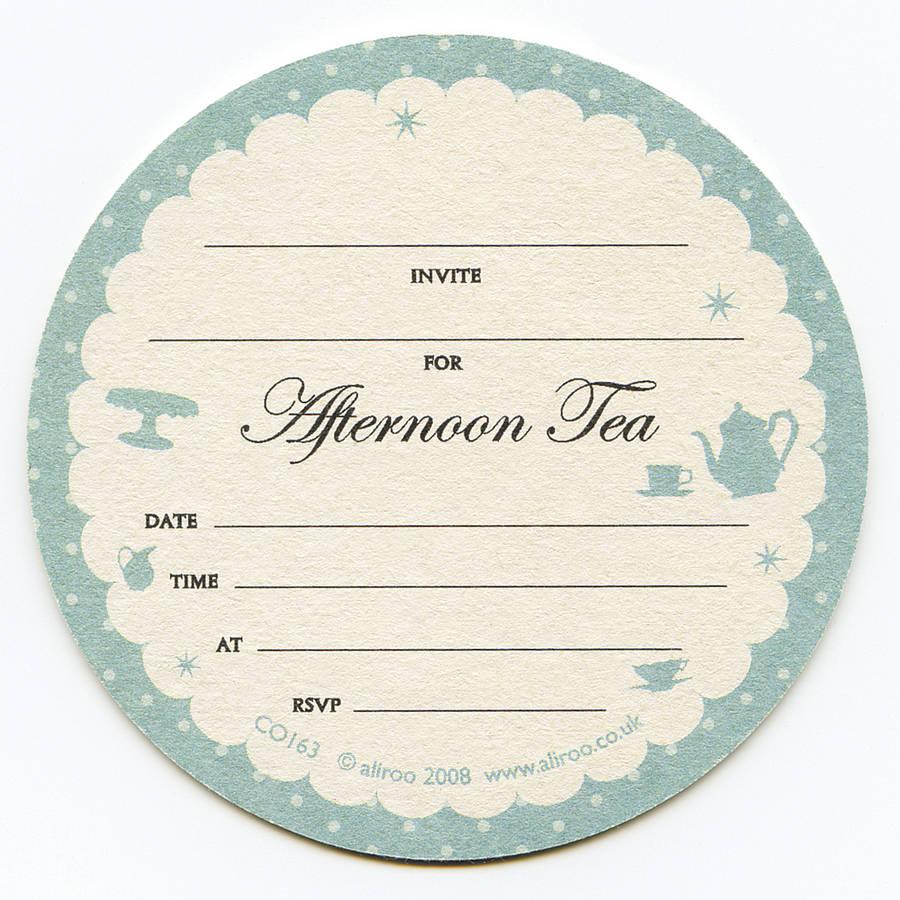 Afternoon Tea Coaster Invitations By Aliroo