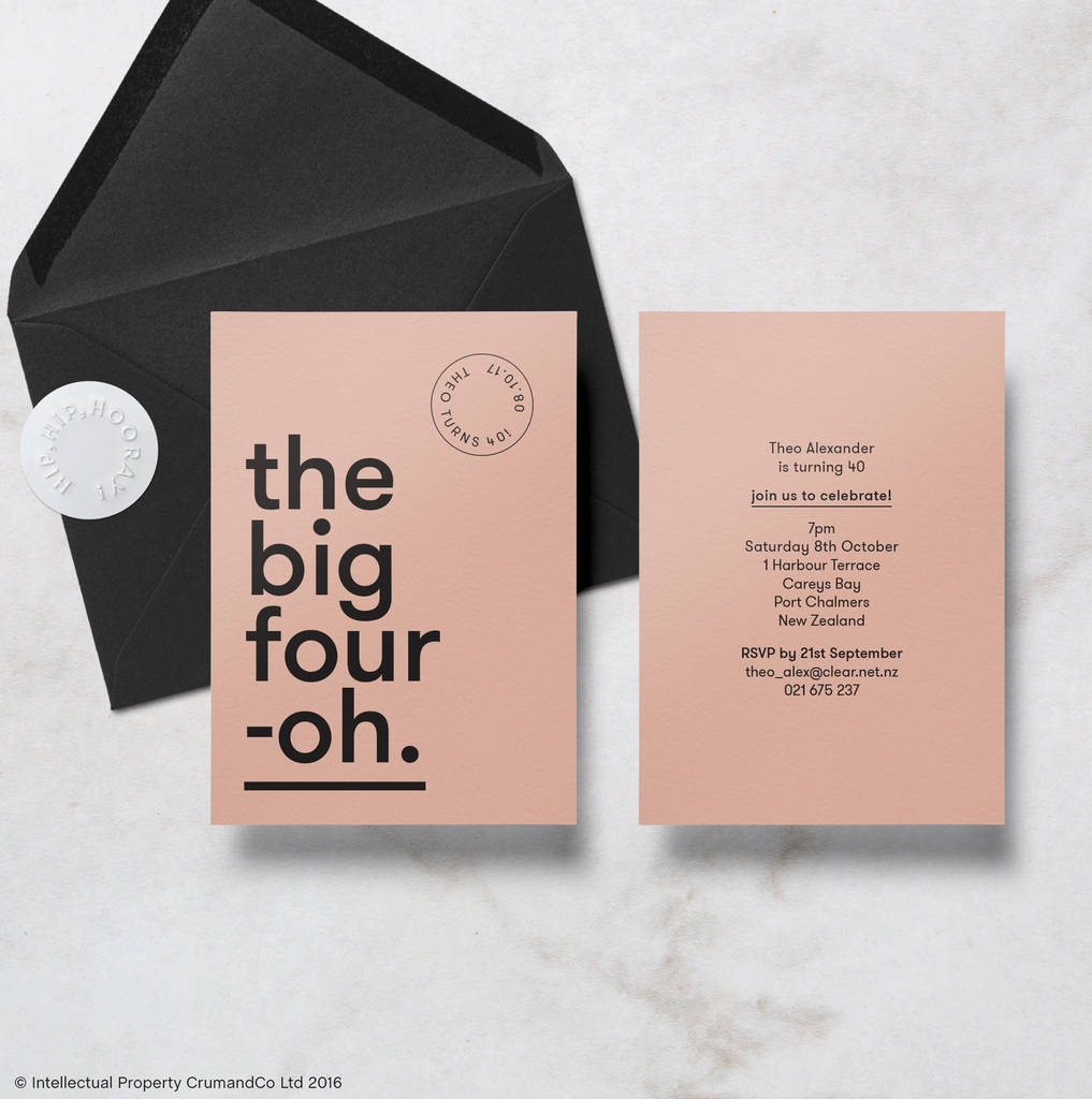 Modern Minimal 40th Birthday Invitations With Envelope By Crum&co