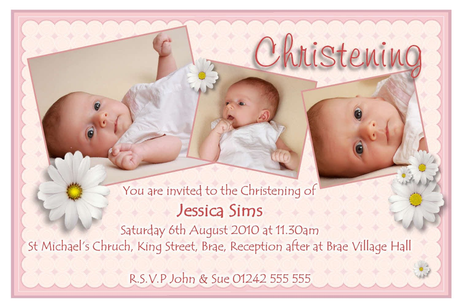 Sample Invitation Christening Card