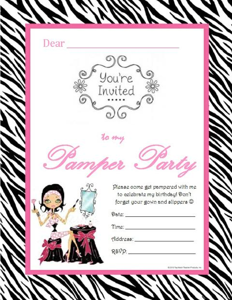 Pamper Party Invite Template Elegant With Pamper Party Invite