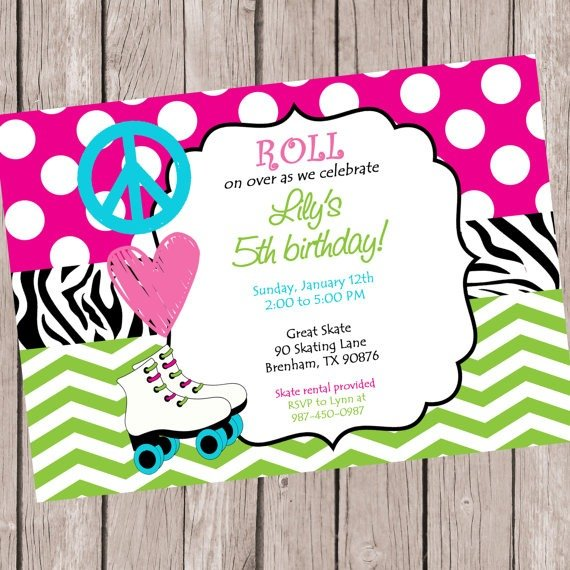 Invitation Ideas  Free Printable Roller Skating Birthday Party