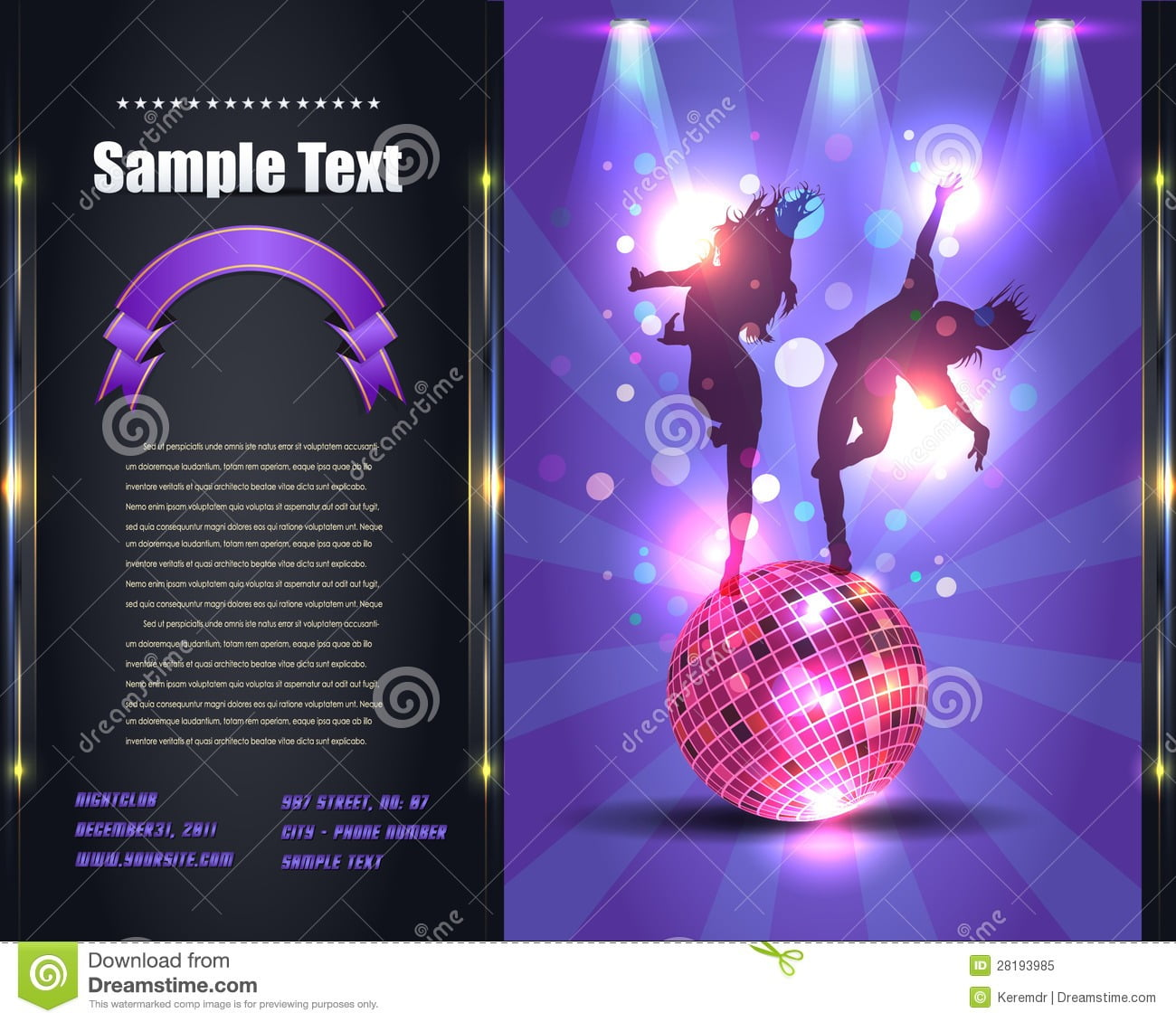 Party Brochure Flyer Vector Template Stock Vector