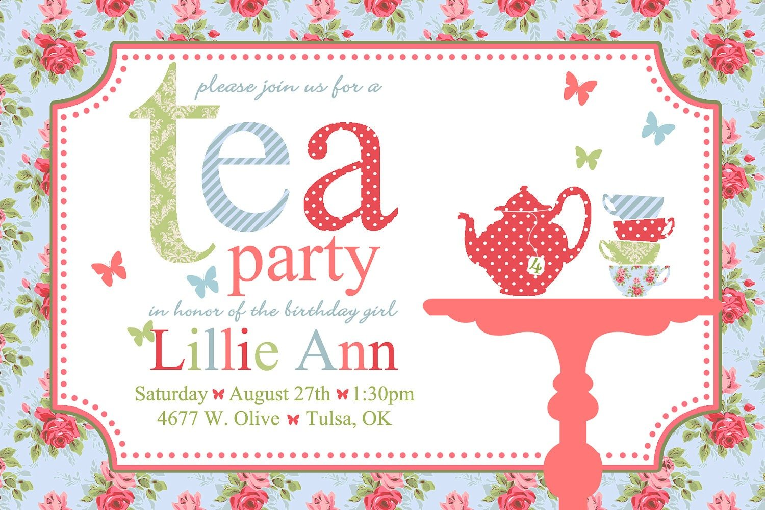 Spring Party Invitation Templates Free Victorian High Tea Party