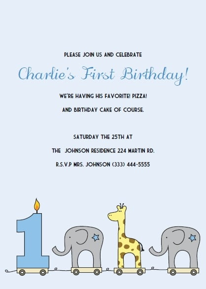 Spectacular First Birthday Party Invites Free