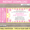 Printable Carnival Ticket Invitation