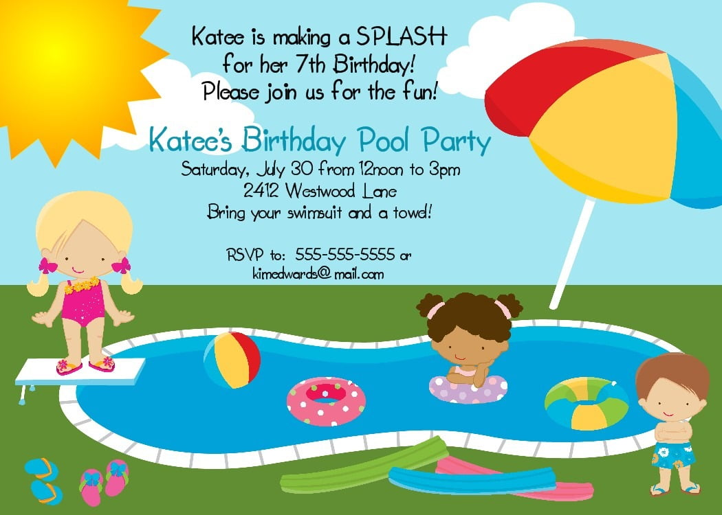 Bear River Photo Greetings  Pool Party Birthday Invitation