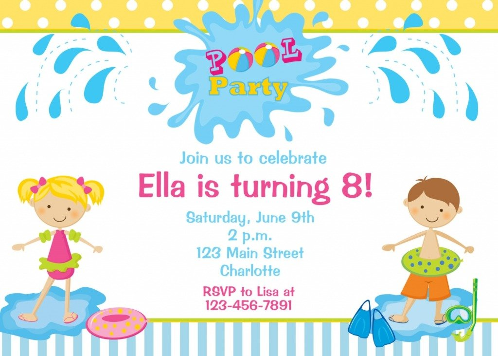 Invitation Ideas  Pool Party Invitation Templates Free Download