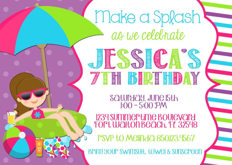 Pool Party Invitation Wording Template Markitd Sample Pdf Birthday