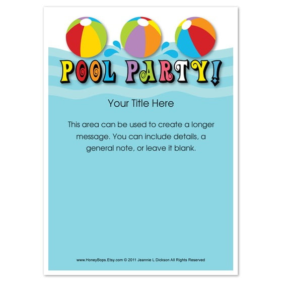 Pool Party Invitations Free  Pool Waves Free Pool Party Invitation