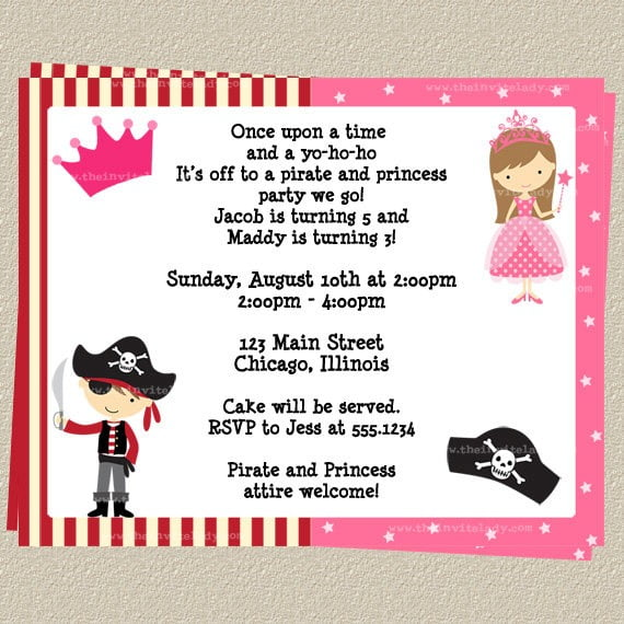 Princess Party Birthday Invitation  Princess Birthday Party