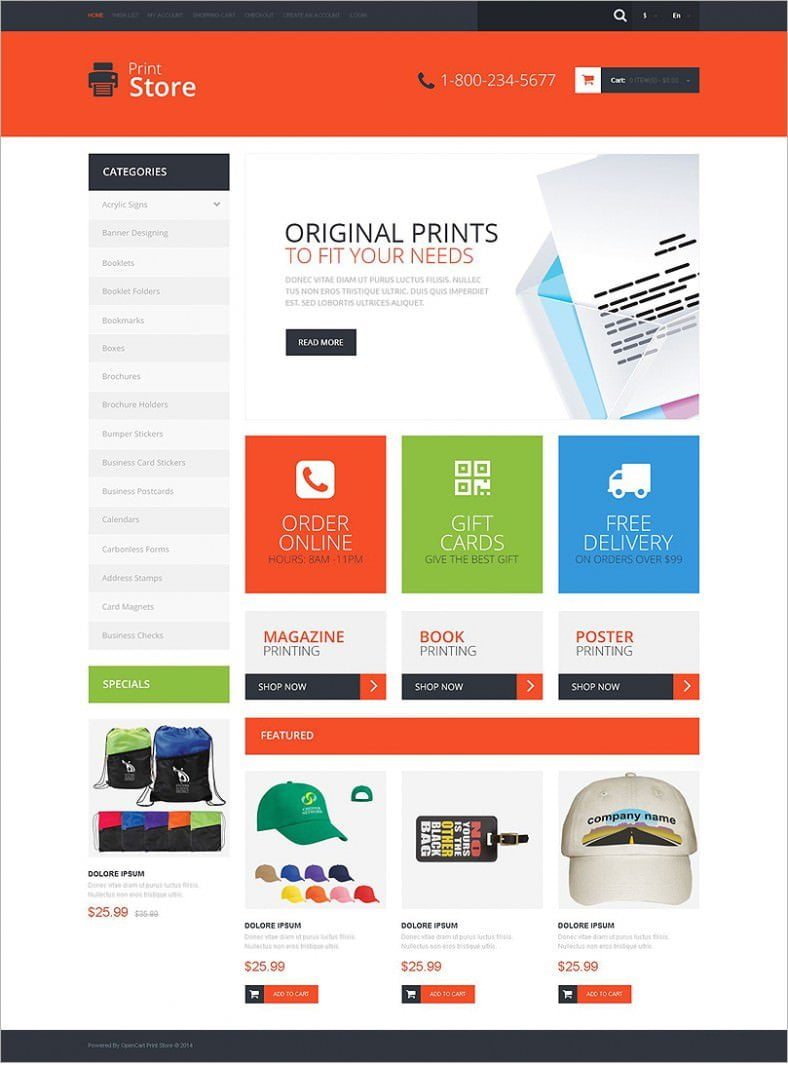 Print Shop Opencart Website Templates & Themes