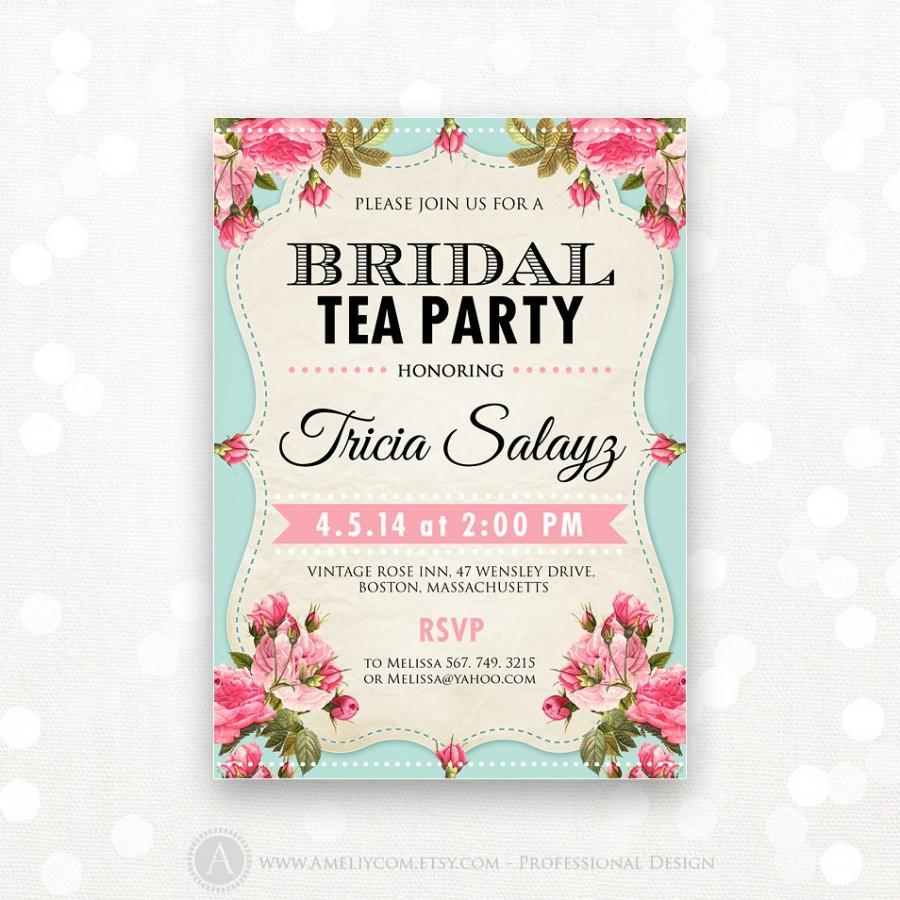 Printable Bridal Shower Invitation, Bridal Tea Party Invite