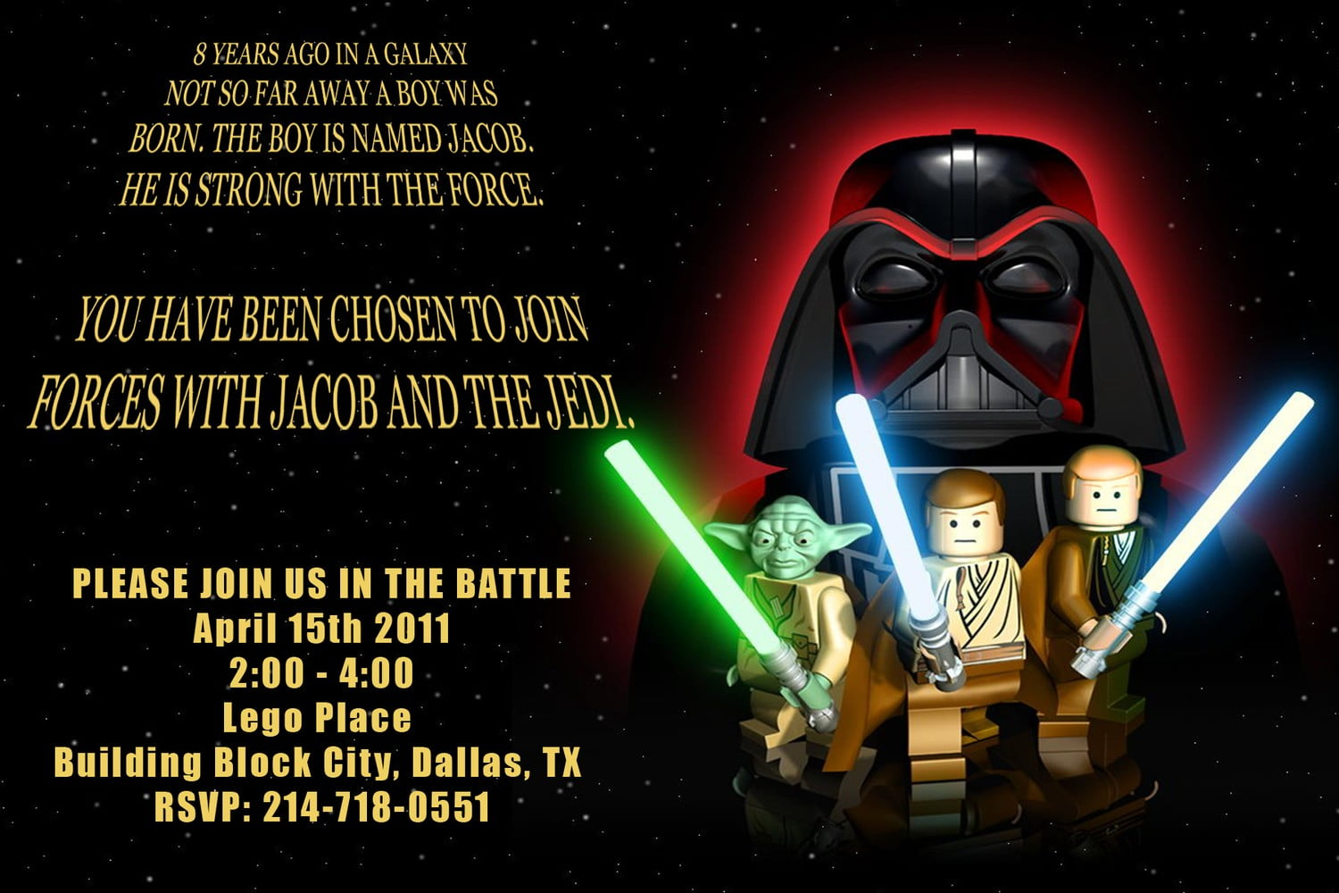 Lego Star Wars Invitations