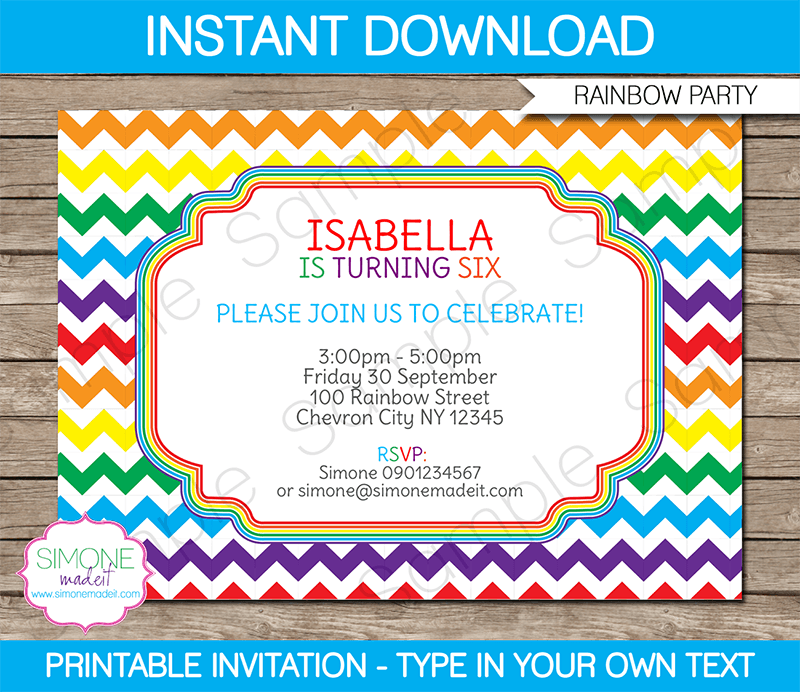 Rainbow Party Invitations Template  Lego Birthday Party Ideas And