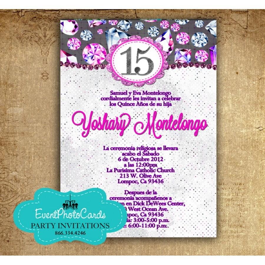 Custom Quinceanera Invitations Online Purple Bling Diamonds Mis