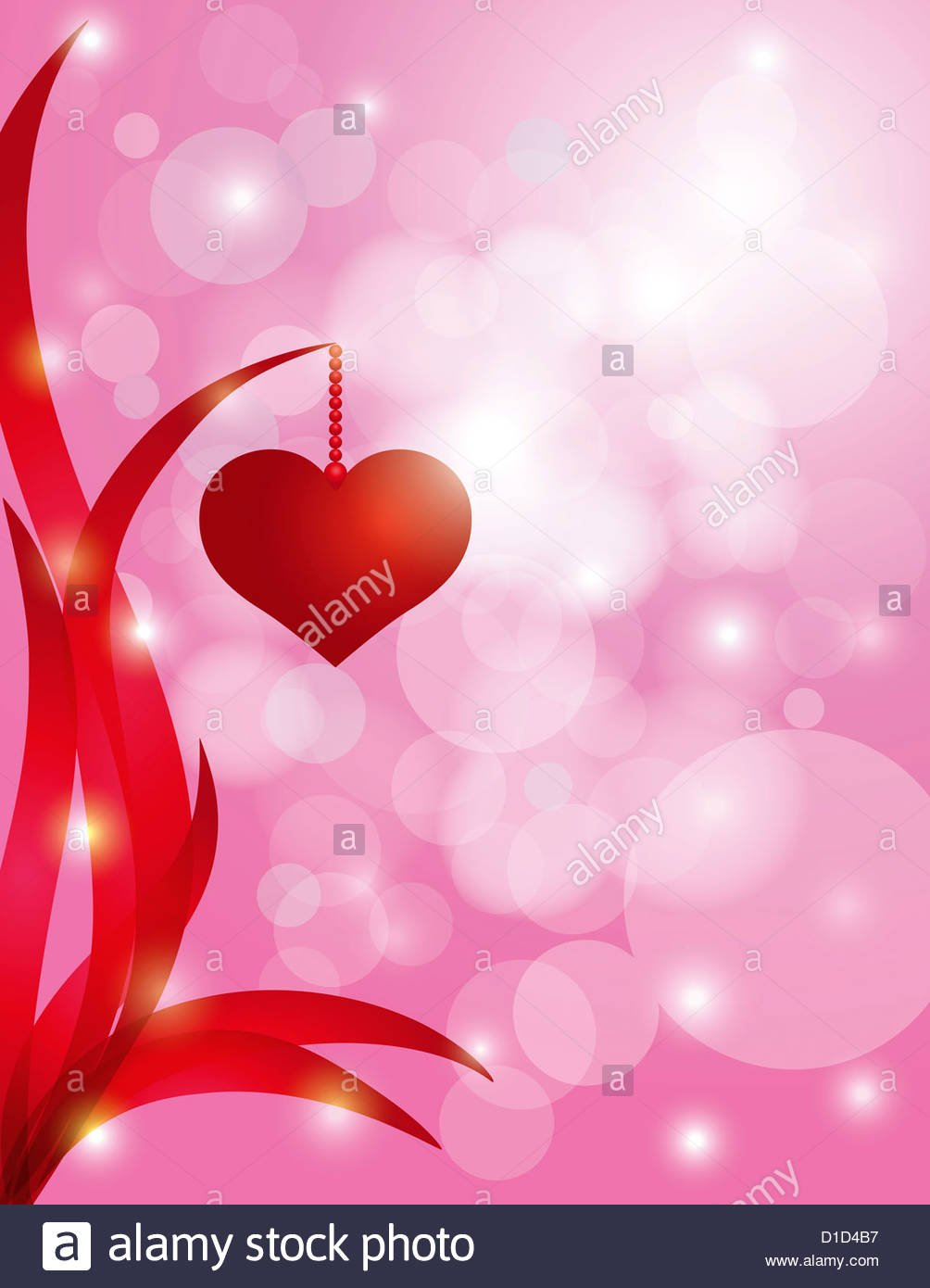 Red Heart Hanging On Swirly Leaf On Sparkling Bokeh Pink