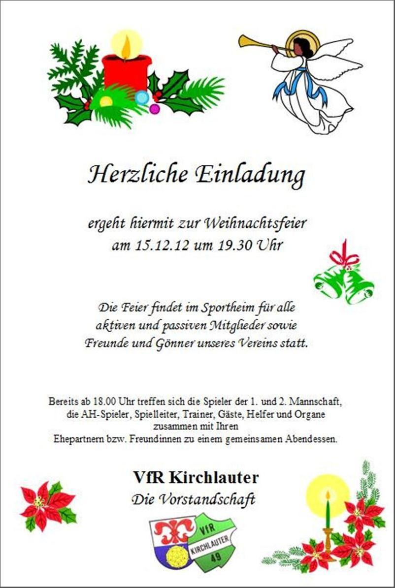 Einladung  Vortrefflich Weihnachtsfeier Einladung Vorlage  Reizend