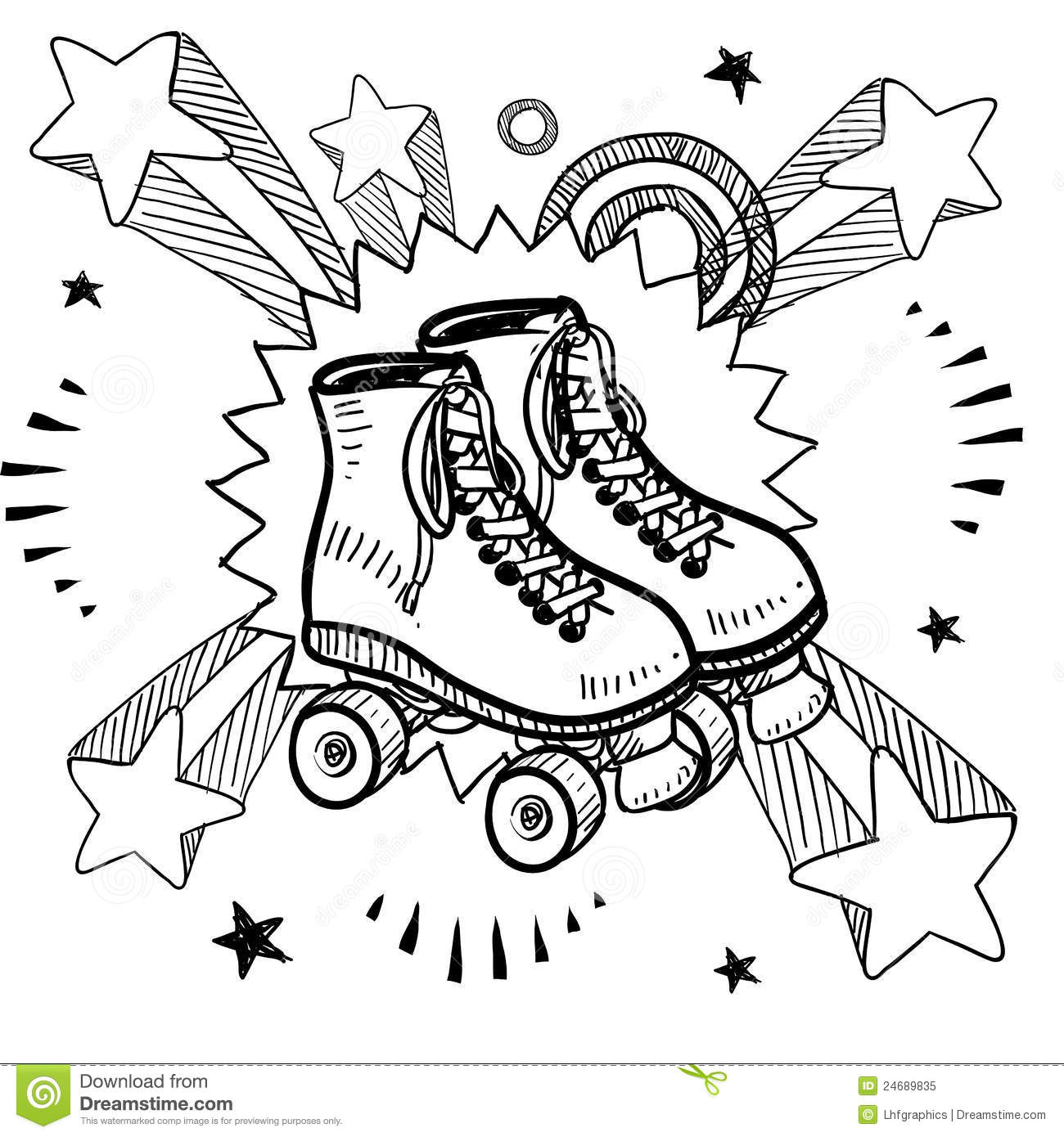 Roller Skating Sketch Stock Vector  Illustration Of Drawing