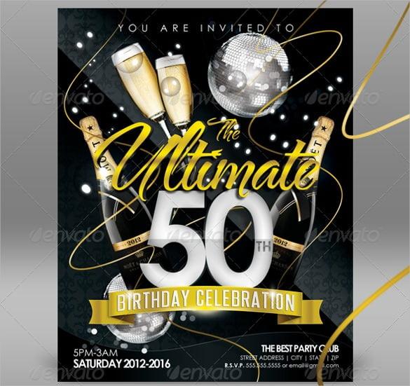 Sample Th Good Free Online 50th Birthday Invitation Templates